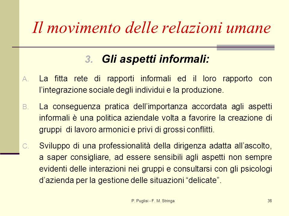 P. Puglisi - F. M. Stringa38 3. Gli aspetti informali: A. La fitta rete di rapporti informali ed il loro rapporto con lintegrazione sociale degli indi
