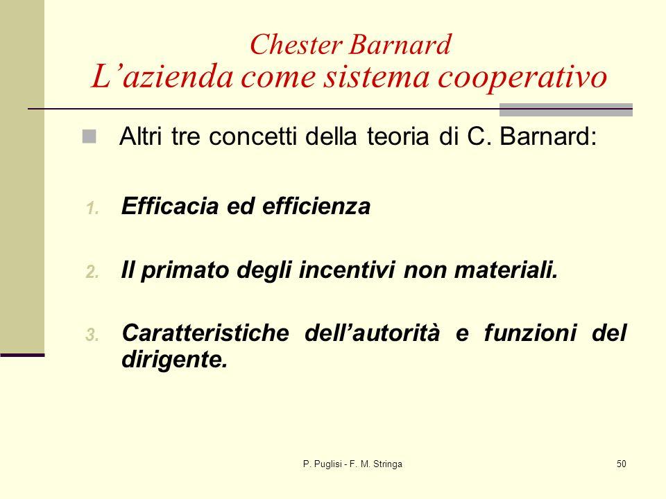 P. Puglisi - F. M. Stringa50 Altri tre concetti della teoria di C. Barnard: 1. Efficacia ed efficienza 2. Il primato degli incentivi non materiali. 3.