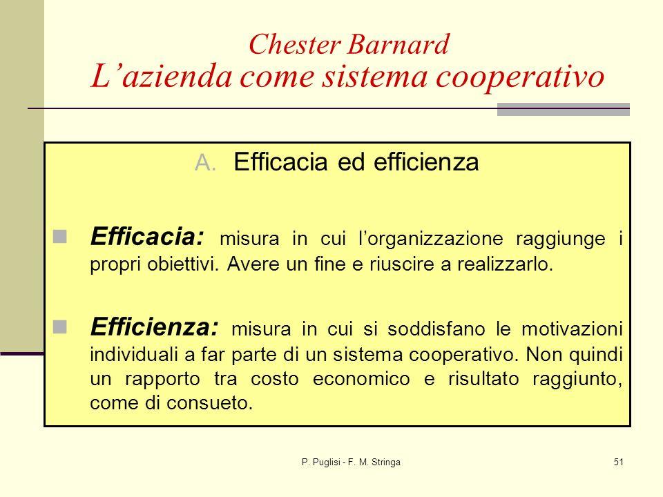 P. Puglisi - F. M. Stringa51 A. Efficacia ed efficienza Efficacia: misura in cui lorganizzazione raggiunge i propri obiettivi. Avere un fine e riuscir