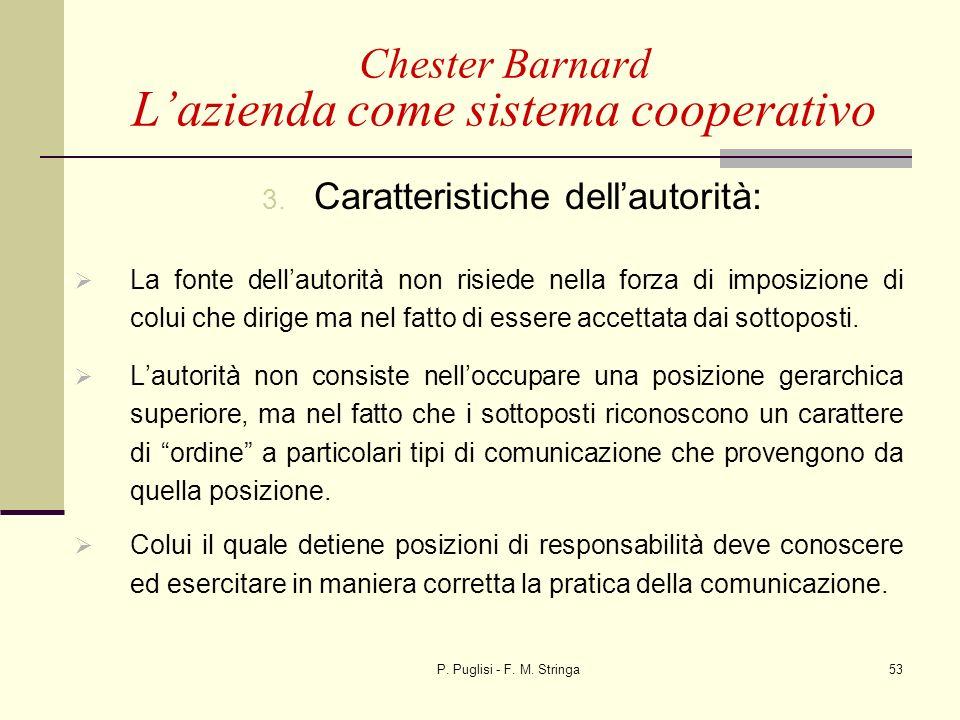 P. Puglisi - F. M. Stringa53 3. Caratteristiche dellautorità: La fonte dellautorità non risiede nella forza di imposizione di colui che dirige ma nel