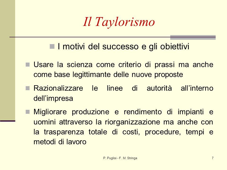 P. Puglisi - F. M. Stringa7 Il Taylorismo I motivi del successo e gli obiettivi Usare la scienza come criterio di prassi ma anche come base legittiman