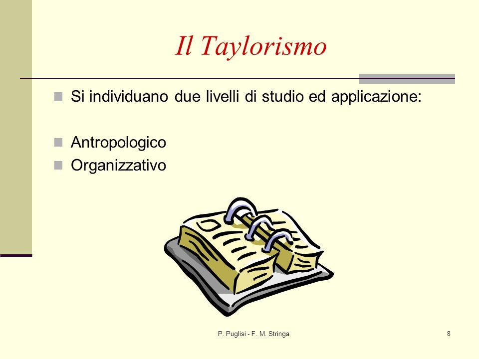 P. Puglisi - F. M. Stringa8 Il Taylorismo Si individuano due livelli di studio ed applicazione: Antropologico Organizzativo
