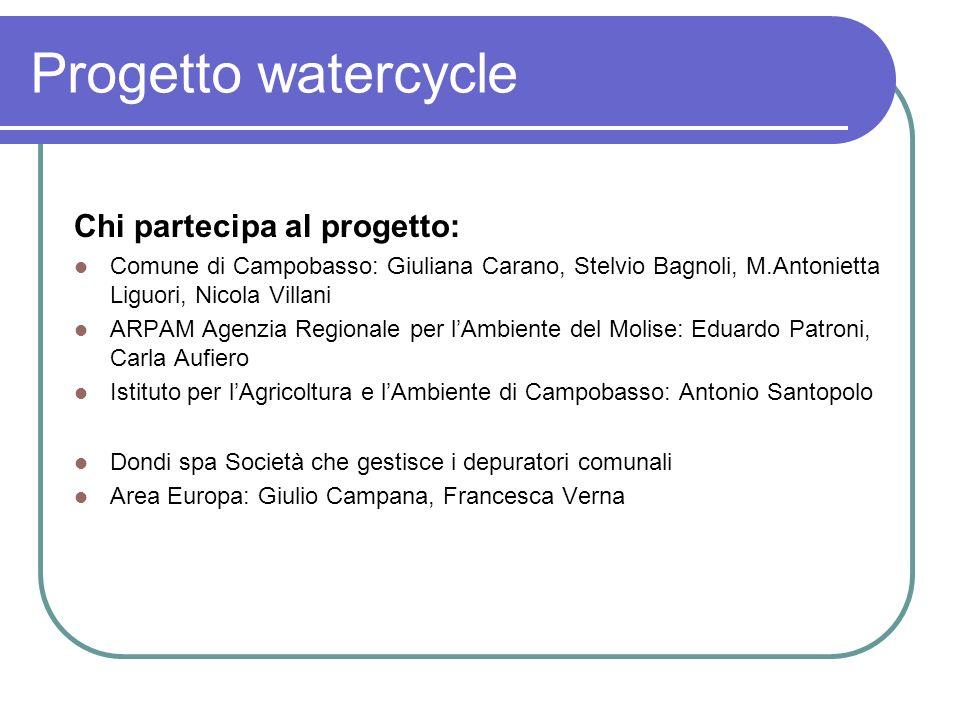 Progetto watercycle Siamo partiti dal presupposto che le azioni previste nel quadro del progetto Watercycle, dati i tempi e le complessità innescate, dovranno avere come obiettivo quello di: 1.