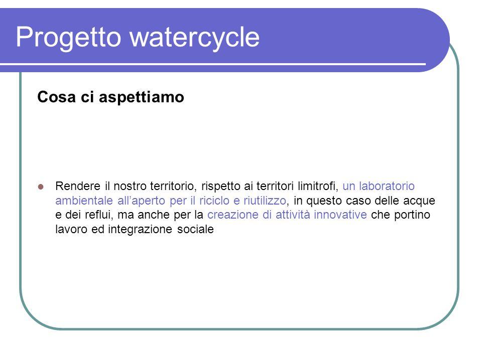 Progetto watercycle Risultati attesi: Con il riutilizzo si ha un risparmio generale in termini ambientali ed ecologici oltre che economici e nellambito di un uso più razionale delle risorse.