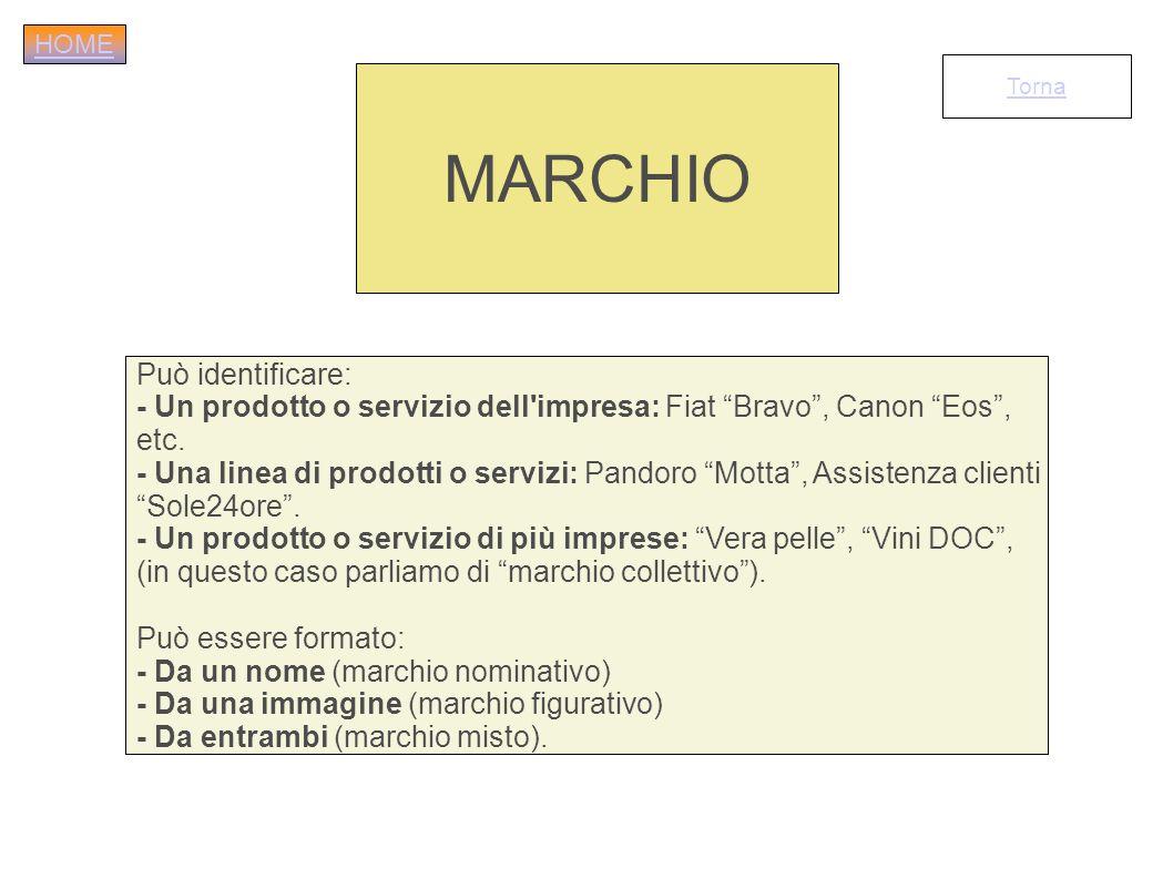 Può identificare: - Un prodotto o servizio dell'impresa: Fiat Bravo, Canon Eos, etc. - Una linea di prodotti o servizi: Pandoro Motta, Assistenza clie