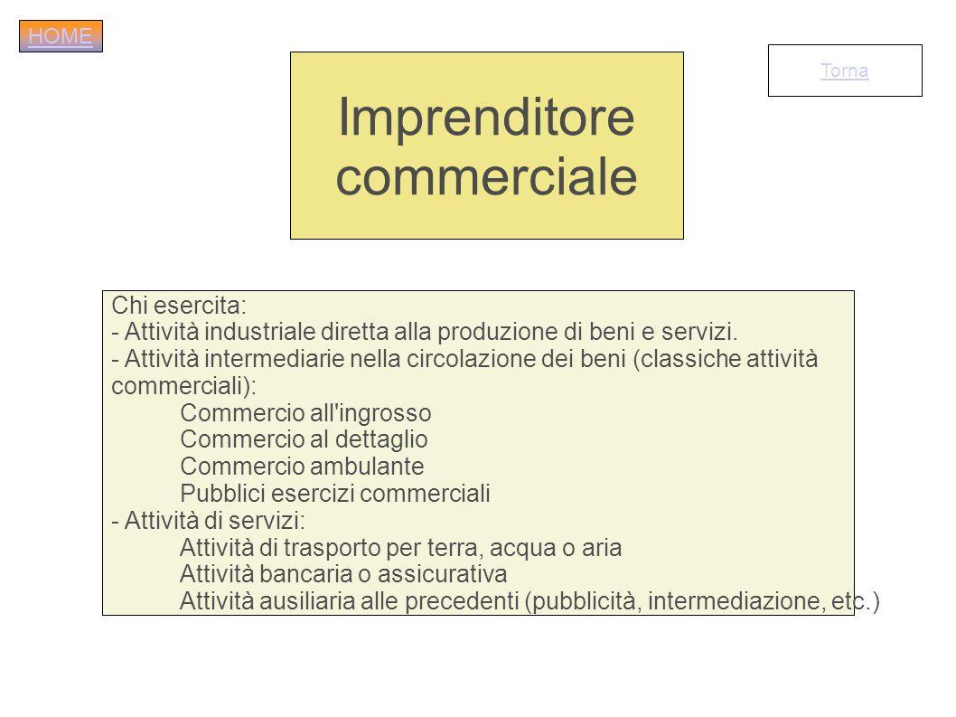 Chi esercita: - Attività industriale diretta alla produzione di beni e servizi. - Attività intermediarie nella circolazione dei beni (classiche attivi