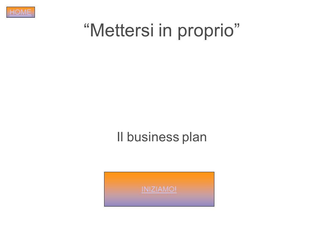 Mettersi in proprio Il business plan INIZIAMO! HOME