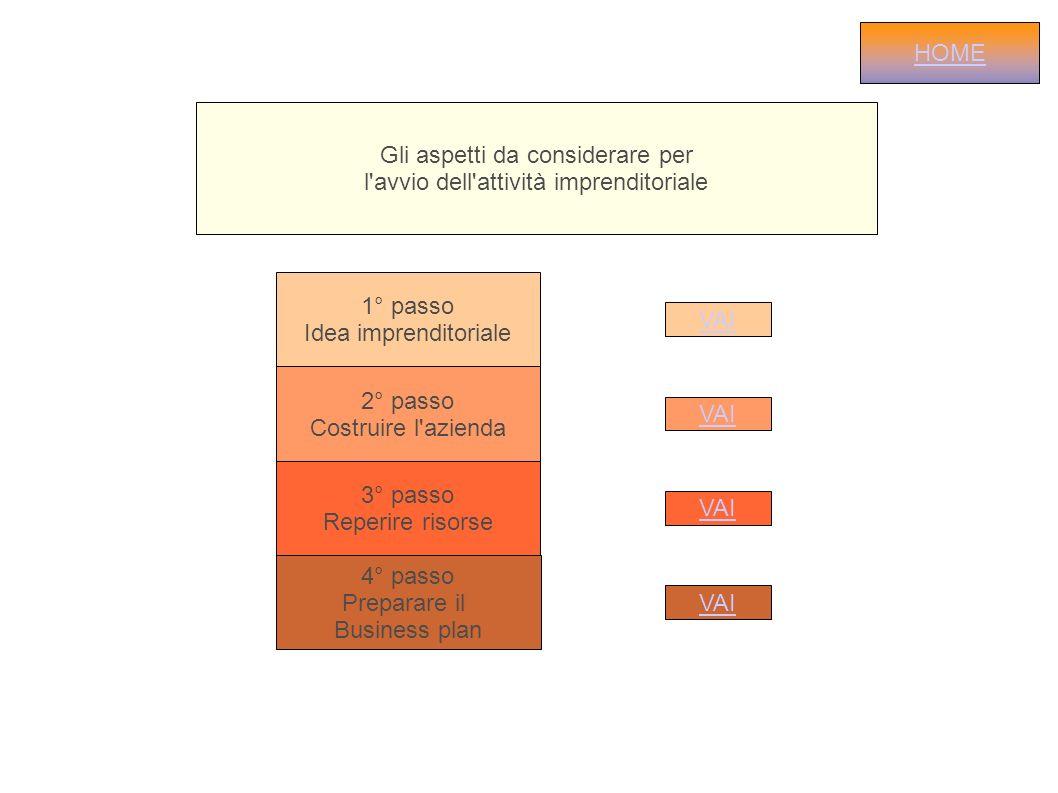 Gli aspetti da considerare per l'avvio dell'attività imprenditoriale 1° passo Idea imprenditoriale 2° passo Costruire l'azienda VAI 3° passo Reperire