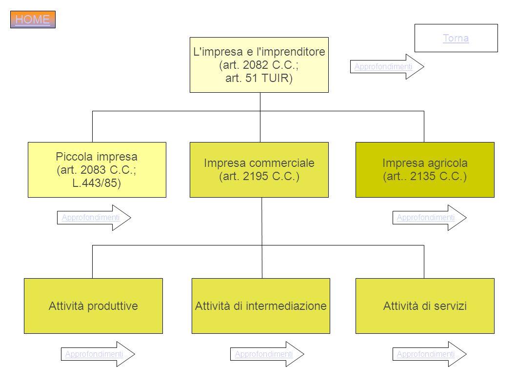 L'impresa e l'imprenditore (art. 2082 C.C.; art. 51 TUIR) Impresa commerciale (art. 2195 C.C.) Impresa agricola (art.. 2135 C.C.) Piccola impresa (art