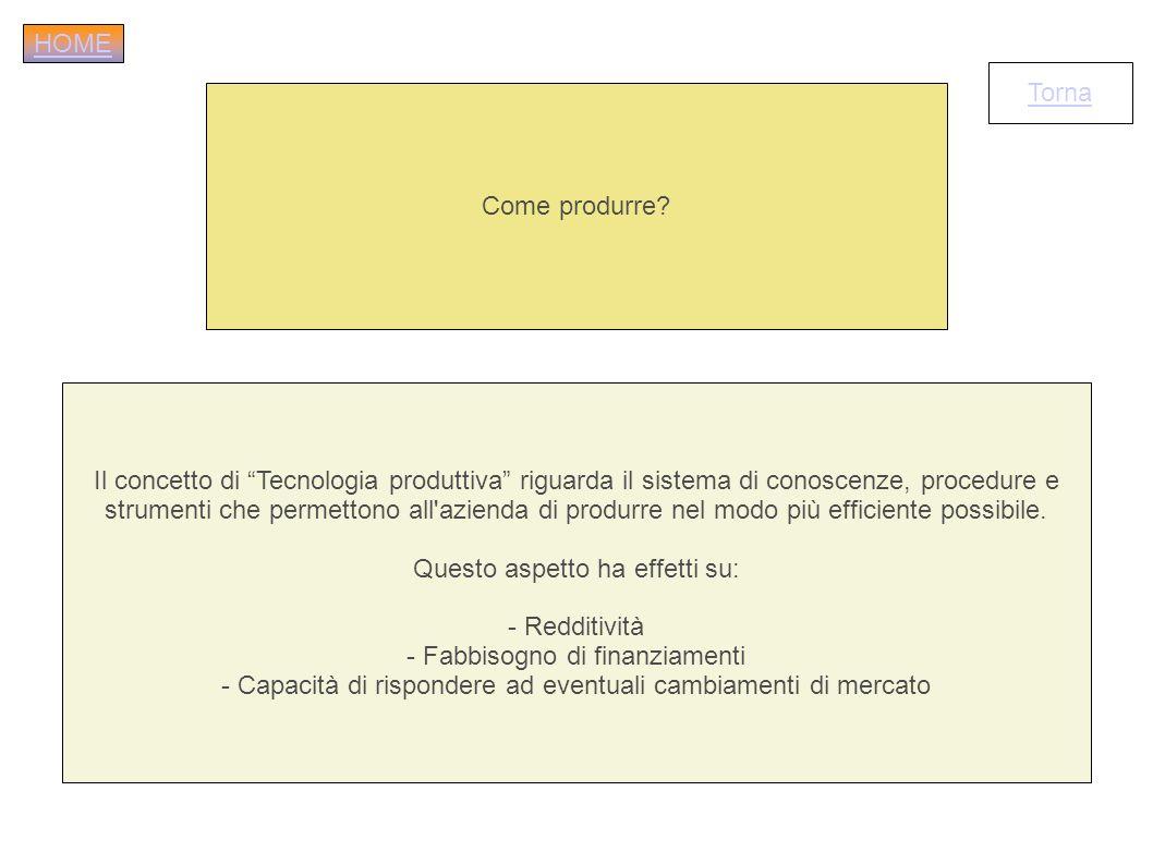 Come produrre? Il concetto di Tecnologia produttiva riguarda il sistema di conoscenze, procedure e strumenti che permettono all'azienda di produrre ne