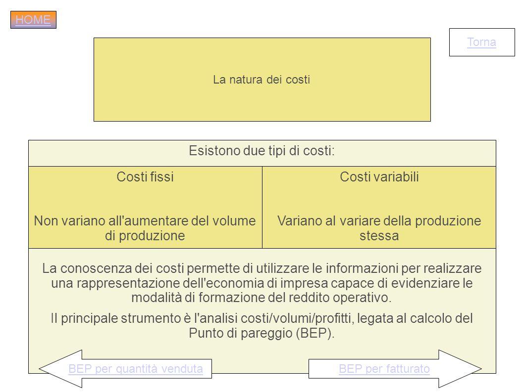 La natura dei costi Esistono due tipi di costi: La conoscenza dei costi permette di utilizzare le informazioni per realizzare una rappresentazione del