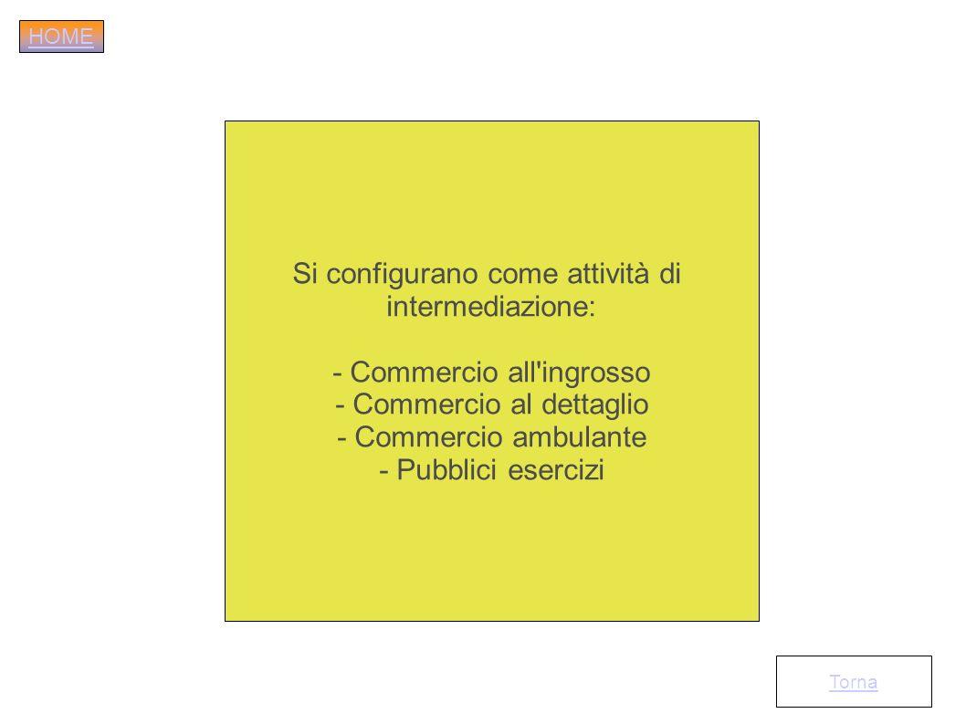 Si configurano come attività di intermediazione: - Commercio all'ingrosso - Commercio al dettaglio - Commercio ambulante - Pubblici esercizi Torna HOM
