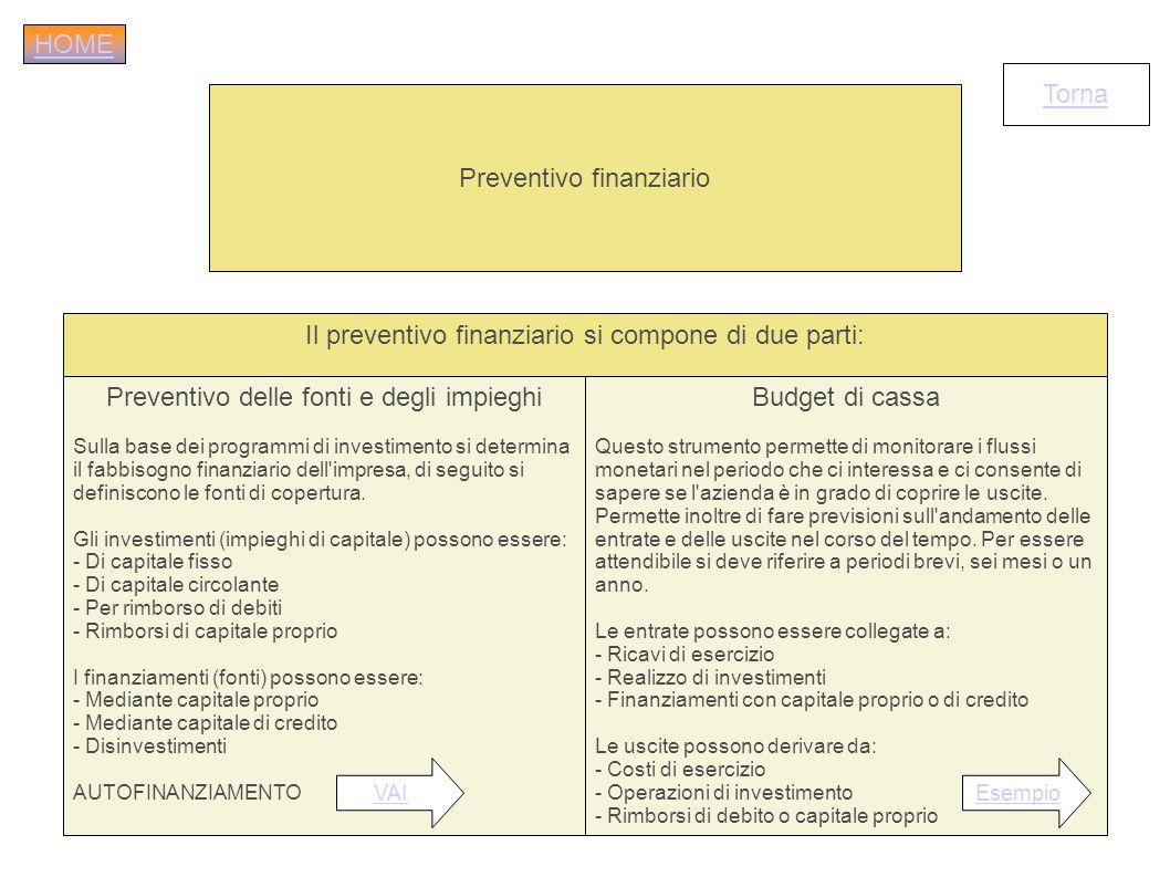 Preventivo finanziario Il preventivo finanziario si compone di due parti: Preventivo delle fonti e degli impieghi Sulla base dei programmi di investim