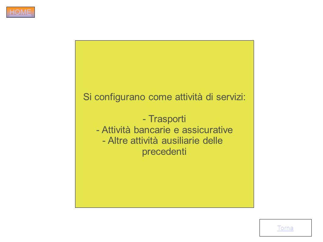 Si configurano come attività di servizi: - Trasporti - Attività bancarie e assicurative - Altre attività ausiliarie delle precedenti Torna HOME