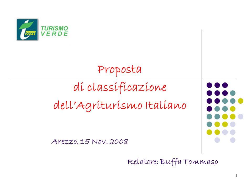 1 Proposta di classificazione dellAgriturismo Italiano Arezzo, 15 Nov. 2008 Relatore: Buffa Tommaso