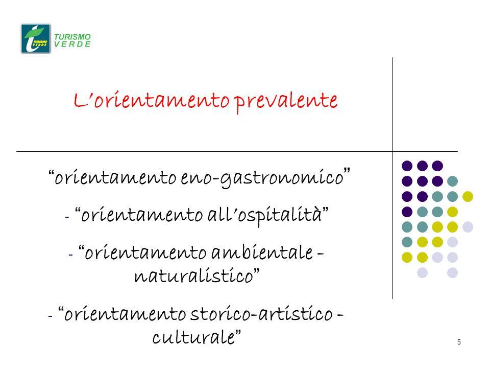5 Lorientamento prevalente orientamento eno-gastronomico - orientamento allospitalità - orientamento ambientale - naturalistico - orientamento storico-artistico - culturale