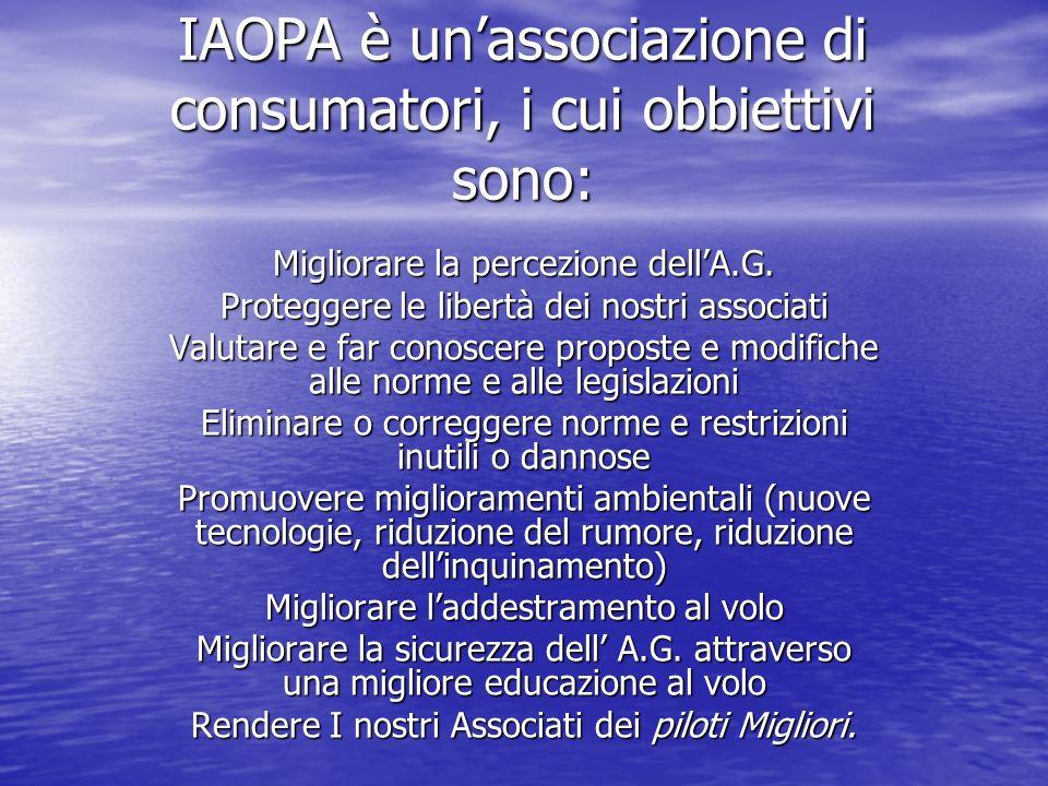 IAOPA è unassociazione di consumatori, i cui obbiettivi sono: Migliorare la percezione dellA.G.