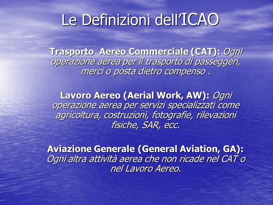 Le Definizioni dell ICAO Le Definizioni dell ICAO Trasporto Aereo Commerciale (CAT): Ogni operazione aerea per il trasporto di passeggeri, merci o posta dietro compenso.
