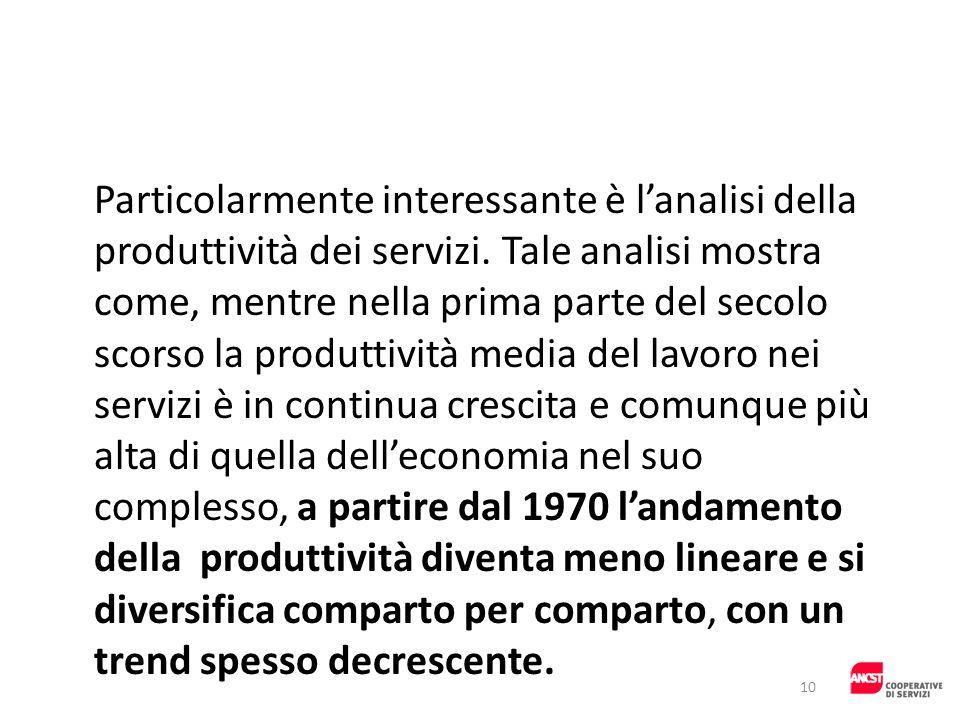 Particolarmente interessante è lanalisi della produttività dei servizi. Tale analisi mostra come, mentre nella prima parte del secolo scorso la produt