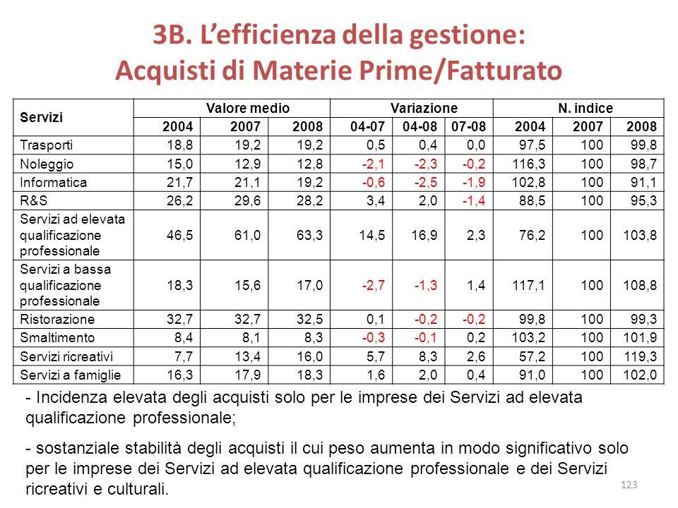 3B. Lefficienza della gestione: Acquisti di Materie Prime/Fatturato Servizi Valore medio Variazione N. indice 20042007200804-0704-0807-08200420072008