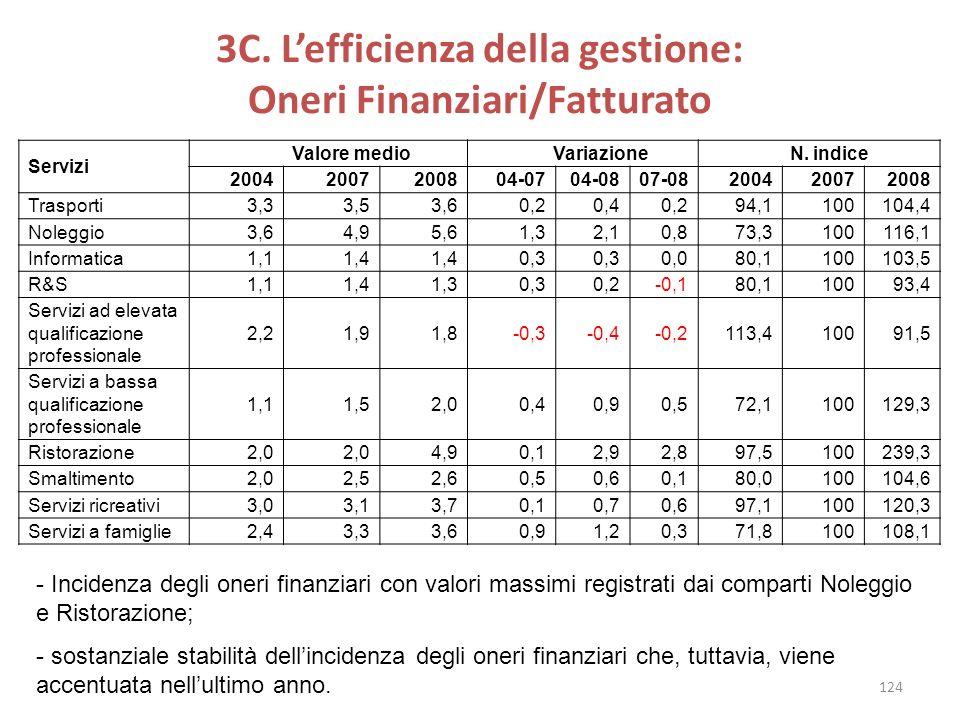 3C. Lefficienza della gestione: Oneri Finanziari/Fatturato Servizi Valore medio Variazione N. indice 20042007200804-0704-0807-08200420072008 Trasporti