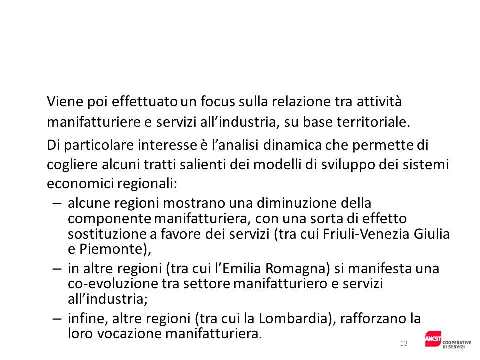 Viene poi effettuato un focus sulla relazione tra attività manifatturiere e servizi allindustria, su base territoriale. Di particolare interesse è lan