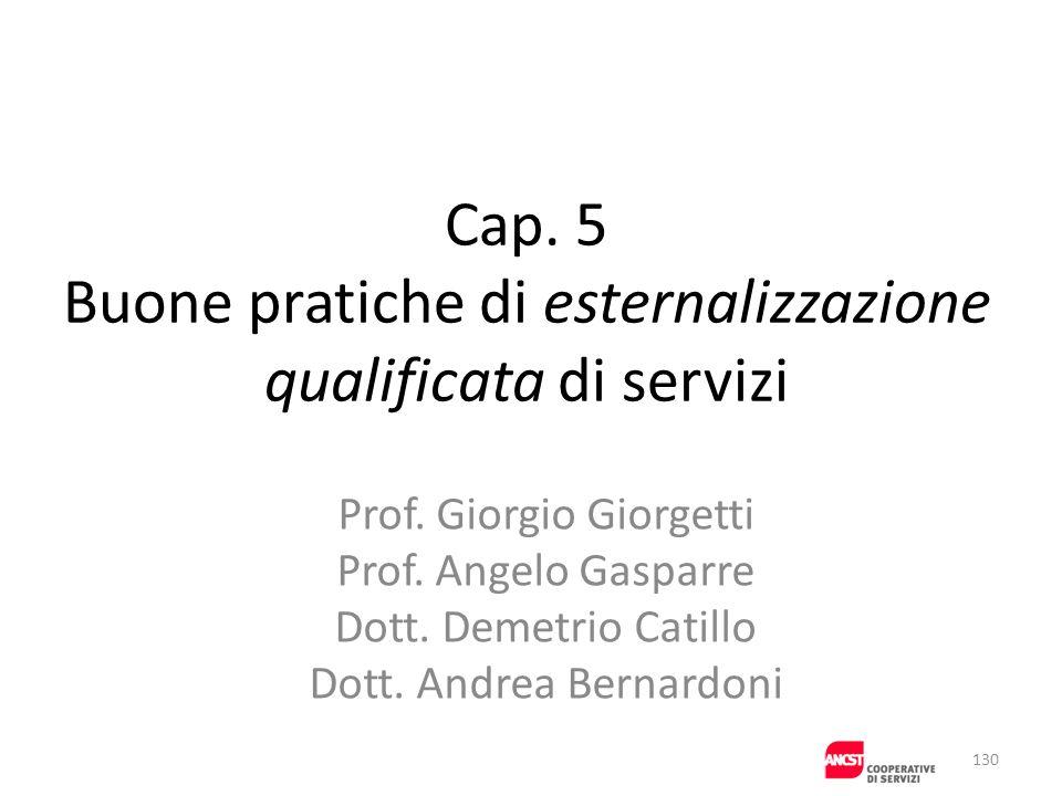 Cap. 5 Buone pratiche di esternalizzazione qualificata di servizi Prof. Giorgio Giorgetti Prof. Angelo Gasparre Dott. Demetrio Catillo Dott. Andrea Be
