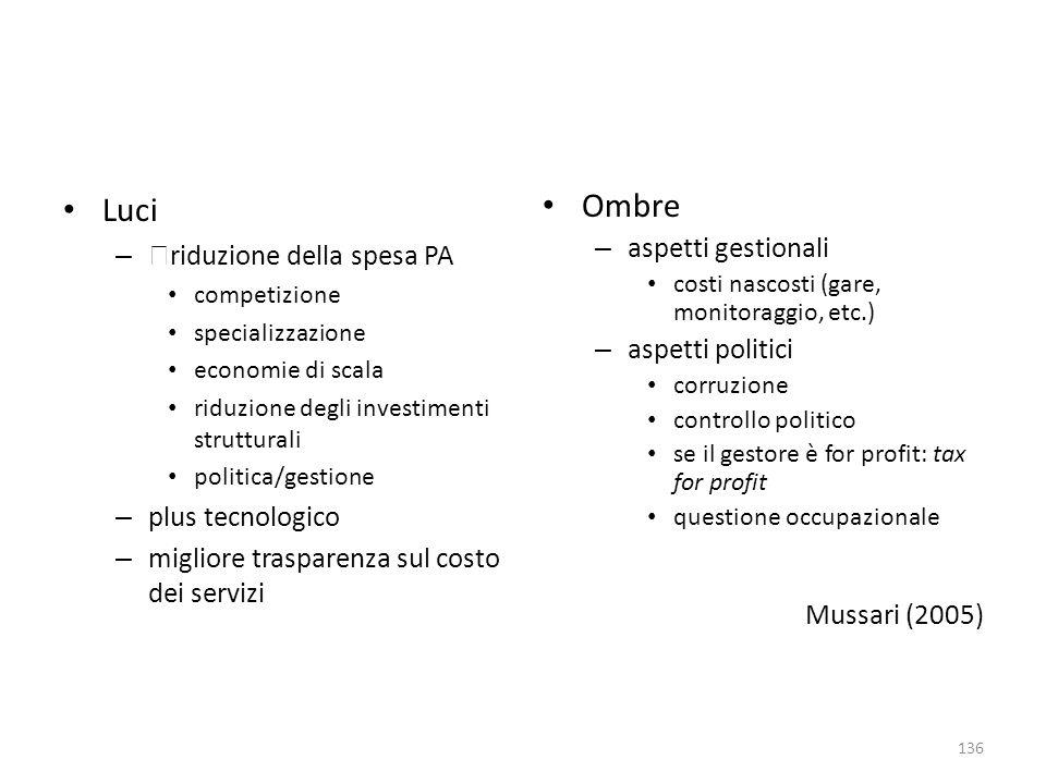 Luci – riduzione della spesa PA competizione specializzazione economie di scala riduzione degli investimenti strutturali politica/gestione – plus tecn