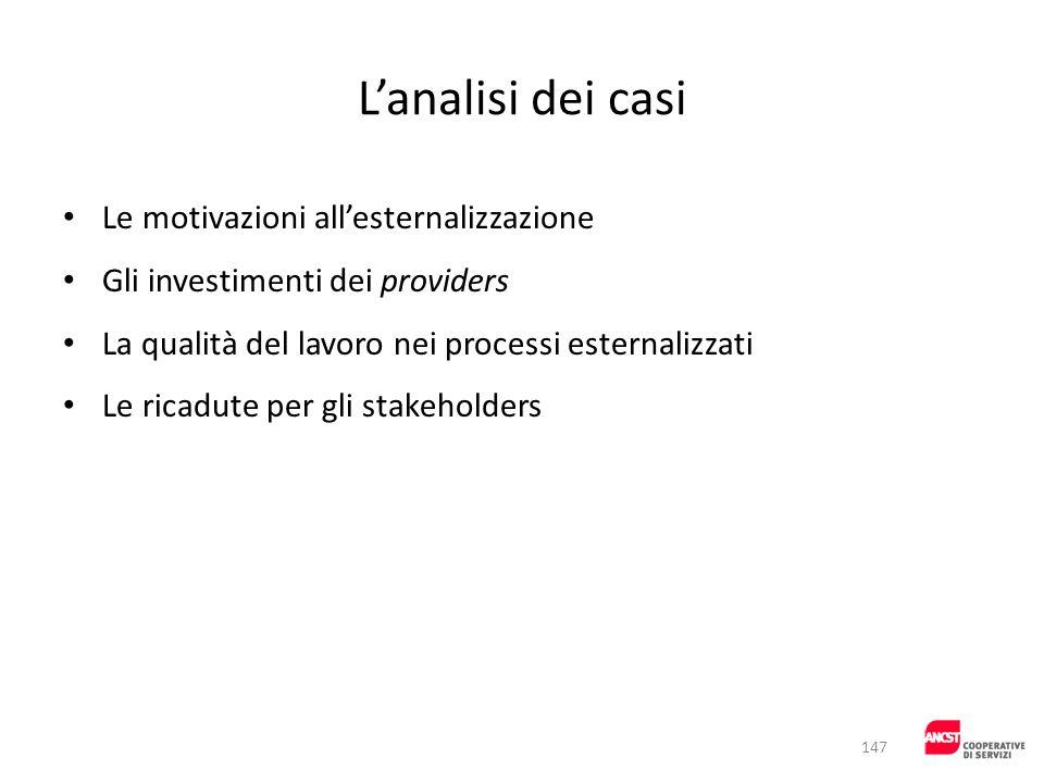 Lanalisi dei casi Le motivazioni allesternalizzazione Gli investimenti dei providers La qualità del lavoro nei processi esternalizzati Le ricadute per