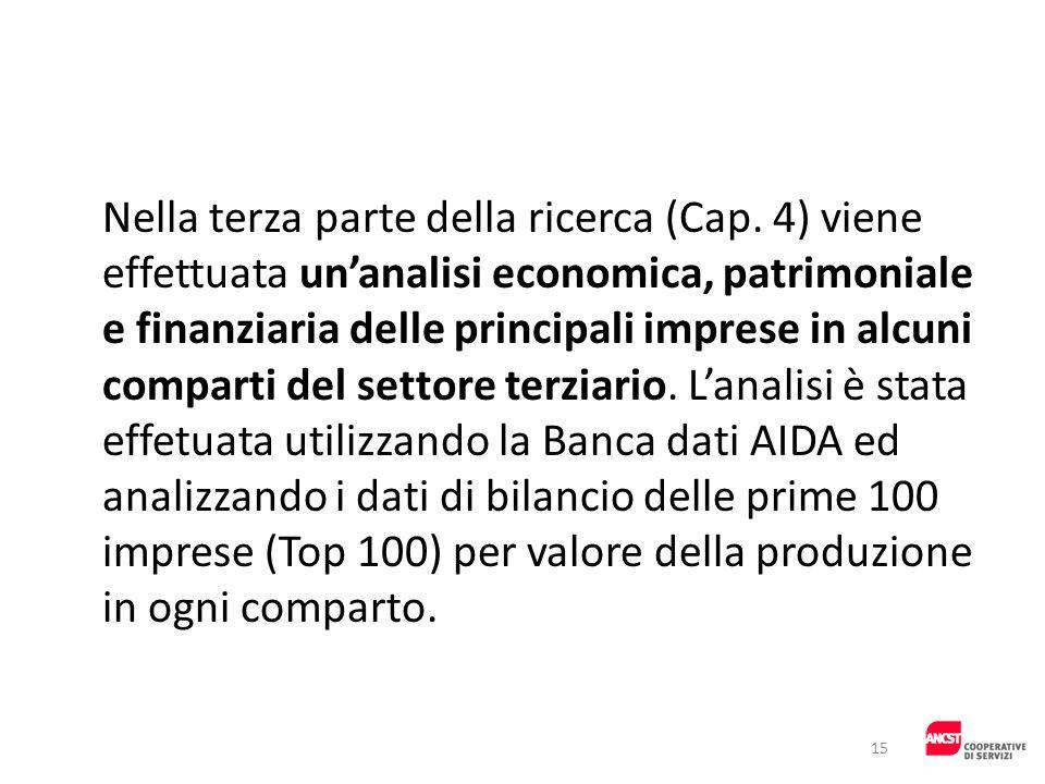 Nella terza parte della ricerca (Cap. 4) viene effettuata unanalisi economica, patrimoniale e finanziaria delle principali imprese in alcuni comparti