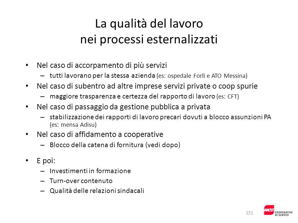 La qualità del lavoro nei processi esternalizzati Nel caso di accorpamento di più servizi – tutti lavorano per la stessa azienda (es: ospedale Forlì e