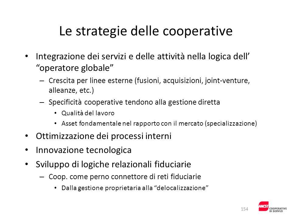 Le strategie delle cooperative Integrazione dei servizi e delle attività nella logica dell operatore globale – Crescita per linee esterne (fusioni, ac