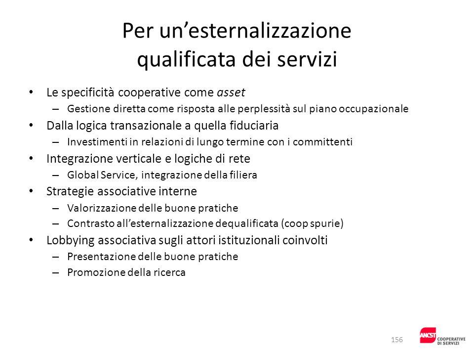 Per unesternalizzazione qualificata dei servizi Le specificità cooperative come asset – Gestione diretta come risposta alle perplessità sul piano occu