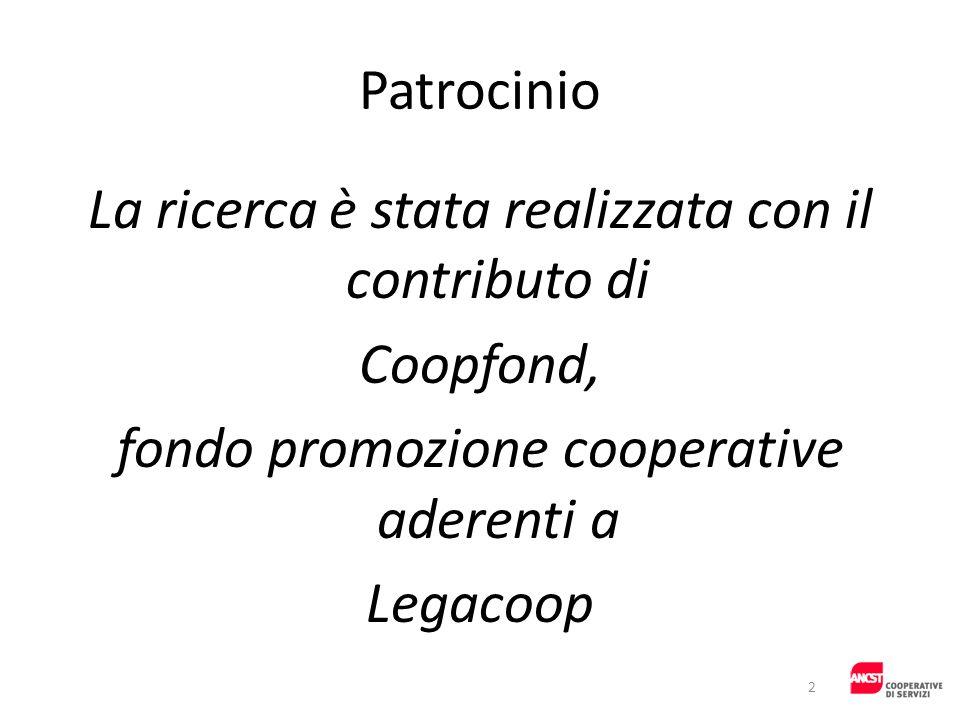 Patrocinio La ricerca è stata realizzata con il contributo di Coopfond, fondo promozione cooperative aderenti a Legacoop 2