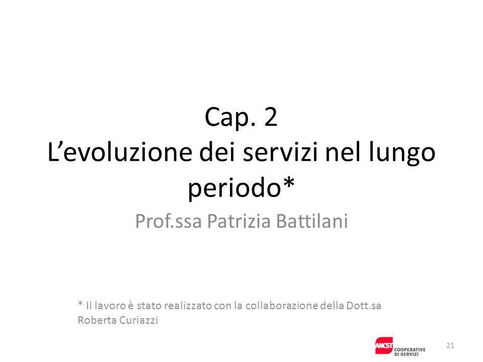 Cap. 2 Levoluzione dei servizi nel lungo periodo* Prof.ssa Patrizia Battilani * Il lavoro è stato realizzato con la collaborazione della Dott.sa Rober