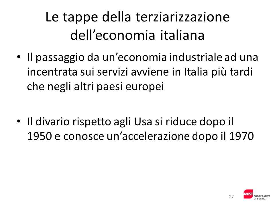Le tappe della terziarizzazione delleconomia italiana Il passaggio da uneconomia industriale ad una incentrata sui servizi avviene in Italia più tardi