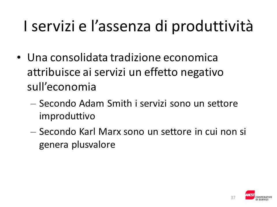 I servizi e lassenza di produttività Una consolidata tradizione economica attribuisce ai servizi un effetto negativo sulleconomia – Secondo Adam Smith