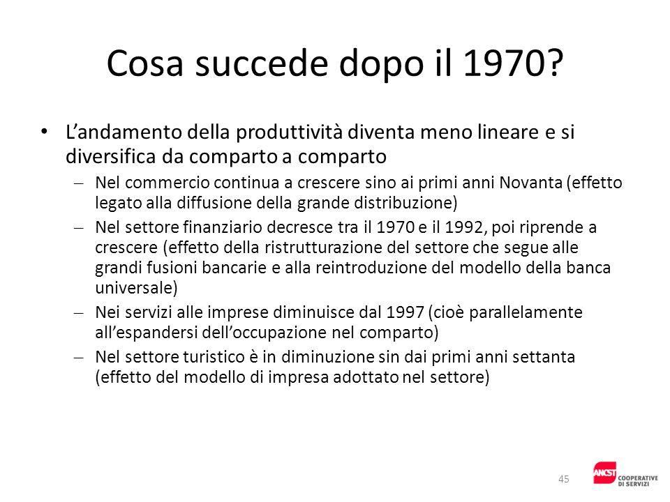 Cosa succede dopo il 1970? Landamento della produttività diventa meno lineare e si diversifica da comparto a comparto – Nel commercio continua a cresc