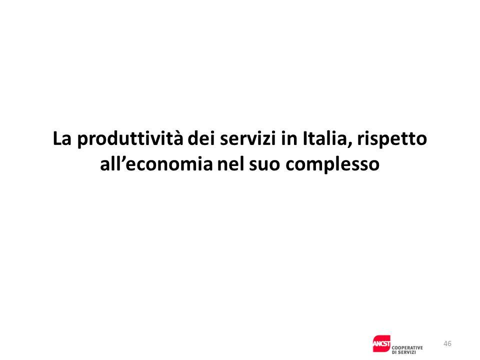 La produttività dei servizi in Italia, rispetto alleconomia nel suo complesso 46