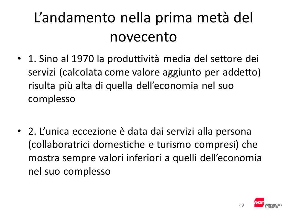 Landamento nella prima metà del novecento 1. Sino al 1970 la produttività media del settore dei servizi (calcolata come valore aggiunto per addetto) r