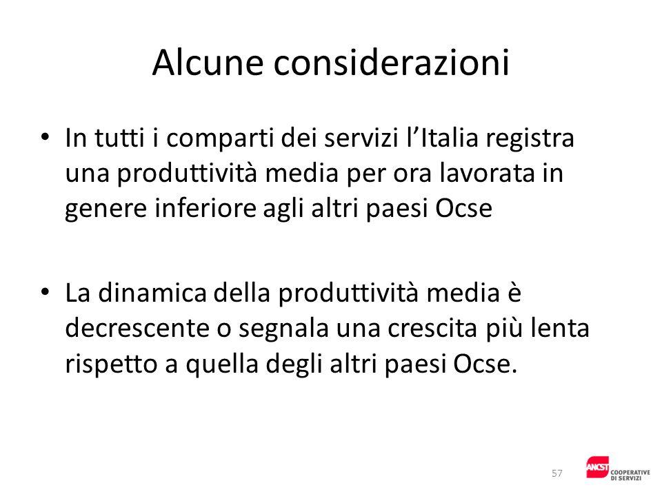 Alcune considerazioni In tutti i comparti dei servizi lItalia registra una produttività media per ora lavorata in genere inferiore agli altri paesi Oc