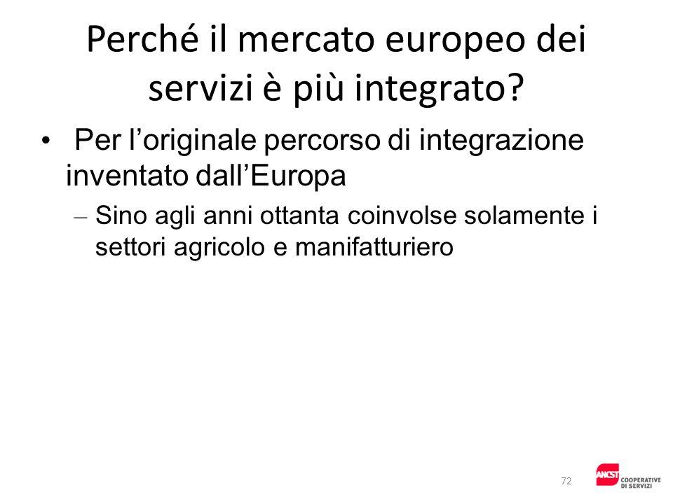 Perché il mercato europeo dei servizi è più integrato? Per loriginale percorso di integrazione inventato dallEuropa – Sino agli anni ottanta coinvolse