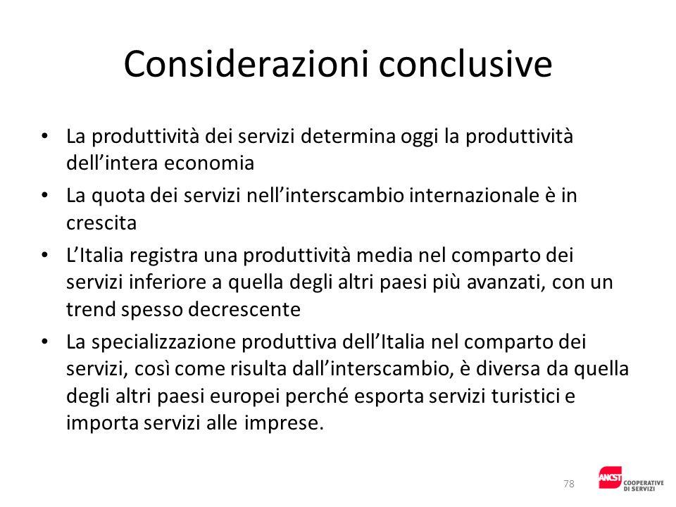 Considerazioni conclusive La produttività dei servizi determina oggi la produttività dellintera economia La quota dei servizi nellinterscambio interna