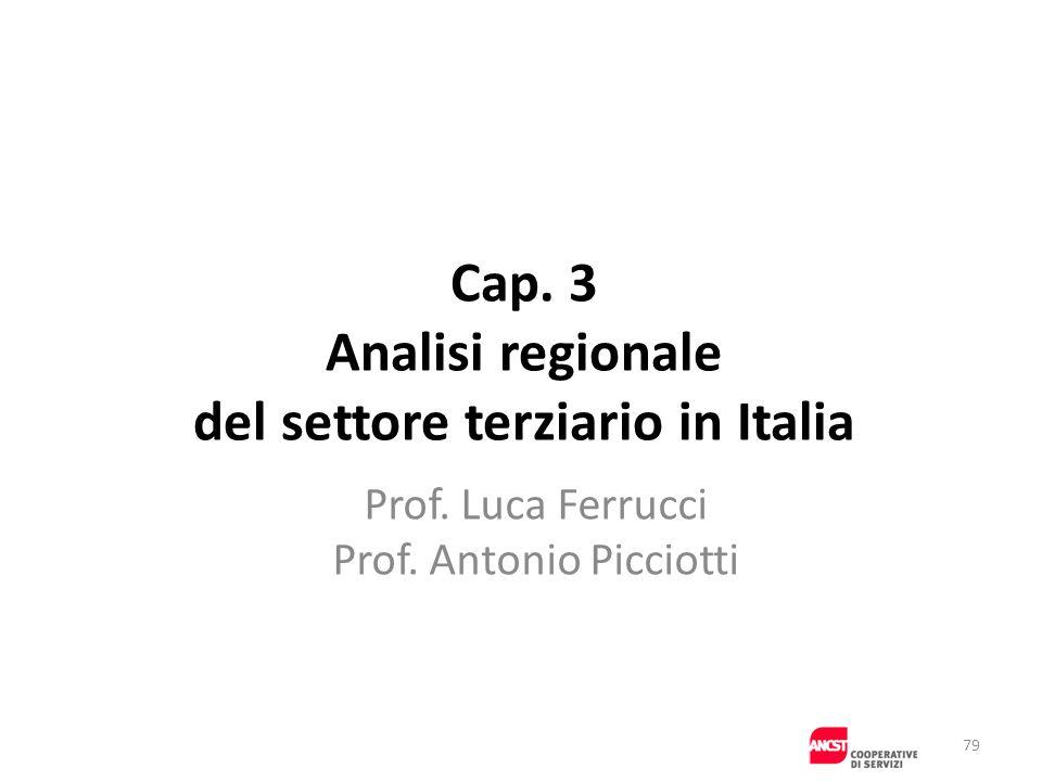 Cap. 3 Analisi regionale del settore terziario in Italia Prof. Luca Ferrucci Prof. Antonio Picciotti 79
