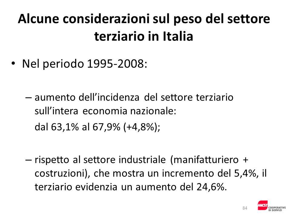 Alcune considerazioni sul peso del settore terziario in Italia Nel periodo 1995-2008: – aumento dellincidenza del settore terziario sullintera economi