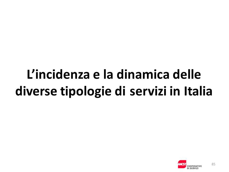 Lincidenza e la dinamica delle diverse tipologie di servizi in Italia 85