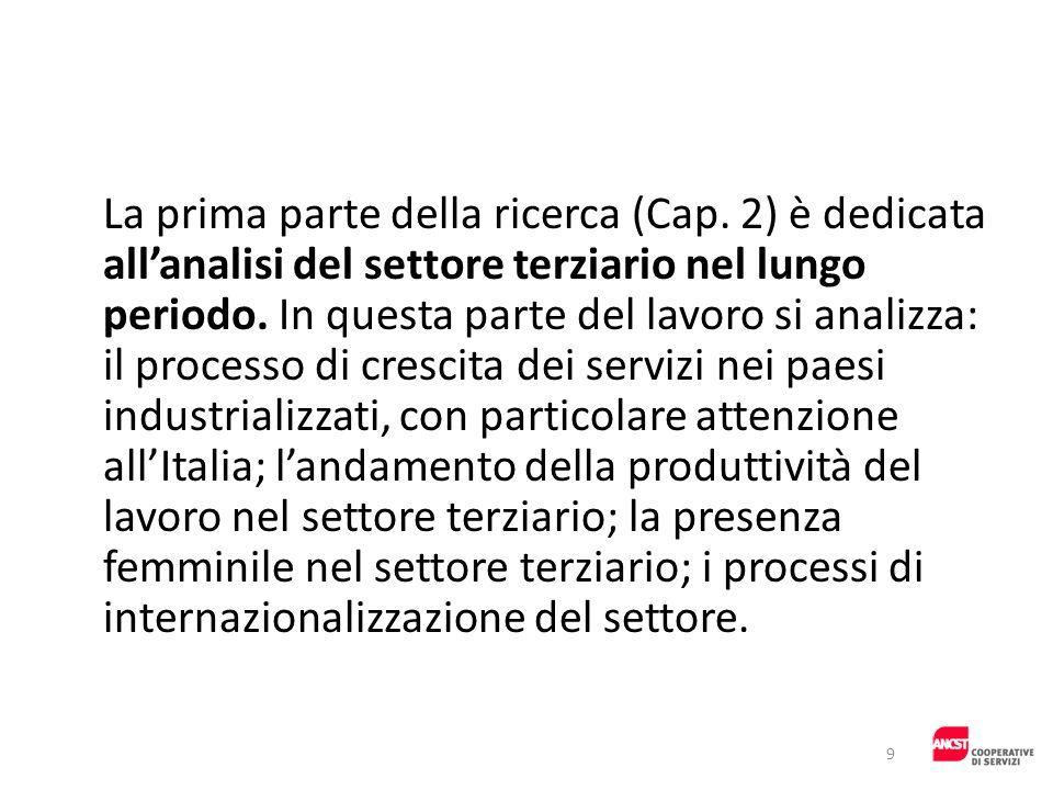 La prima parte della ricerca (Cap. 2) è dedicata allanalisi del settore terziario nel lungo periodo. In questa parte del lavoro si analizza: il proces