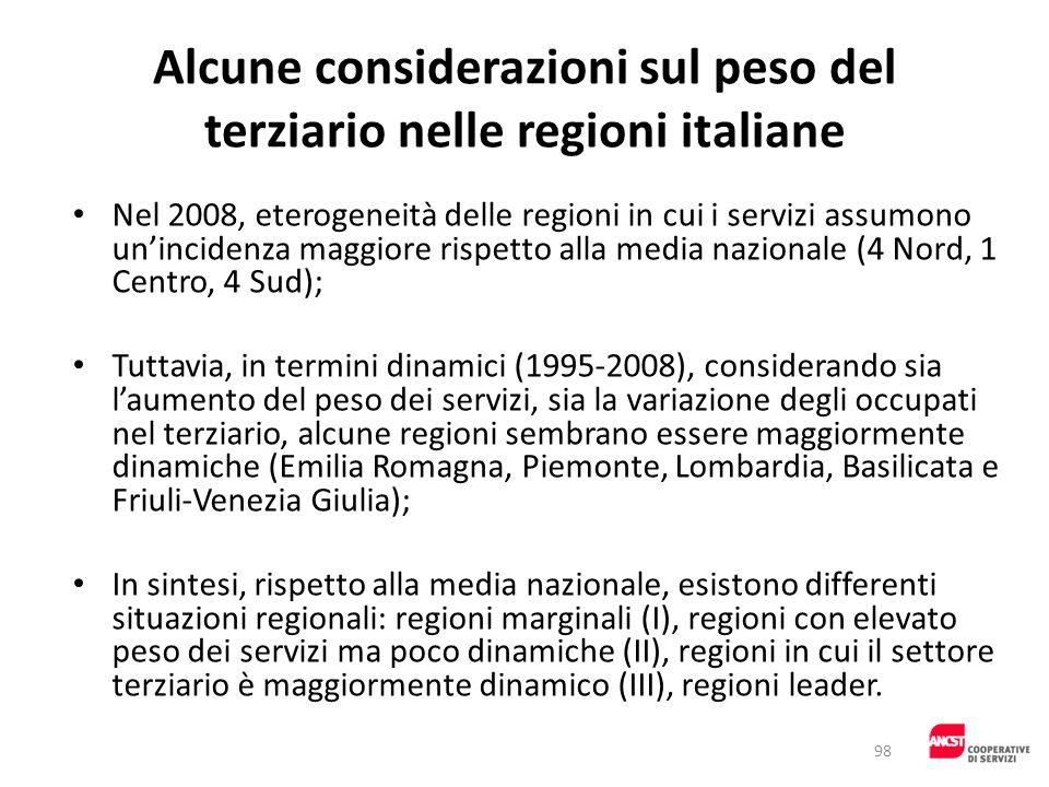 Alcune considerazioni sul peso del terziario nelle regioni italiane Nel 2008, eterogeneità delle regioni in cui i servizi assumono unincidenza maggior