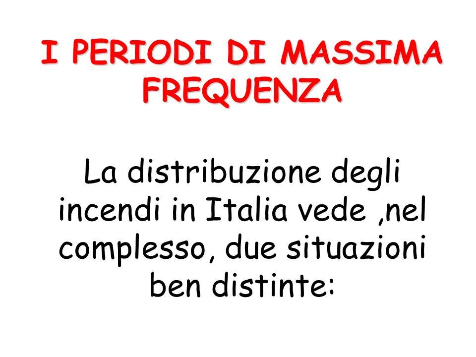 I PERIODI DI MASSIMA FREQUENZA I PERIODI DI MASSIMA FREQUENZA La distribuzione degli incendi in Italia vede,nel complesso, due situazioni ben distinte