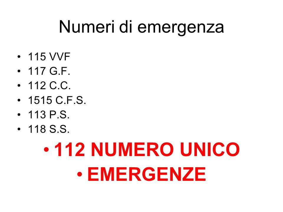 Numeri di emergenza 115 VVF 117 G.F. 112 C.C. 1515 C.F.S. 113 P.S. 118 S.S. 112 NUMERO UNICO EMERGENZE